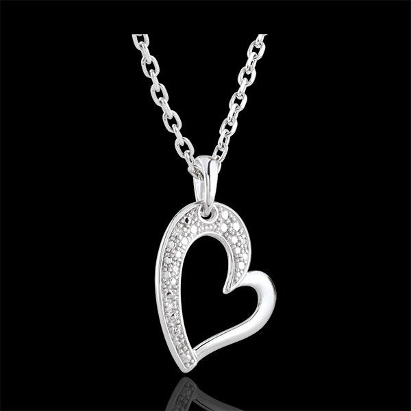 Pendentif Coeur or blanc 9 carats Twist