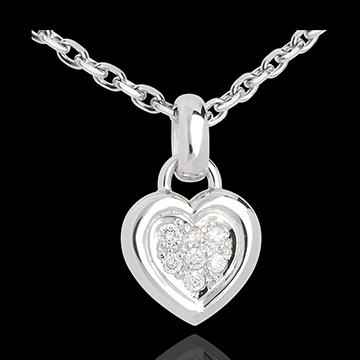 Pendentif coeur pavé or blanc 18 carats - 0.12 carat - 7 diamants