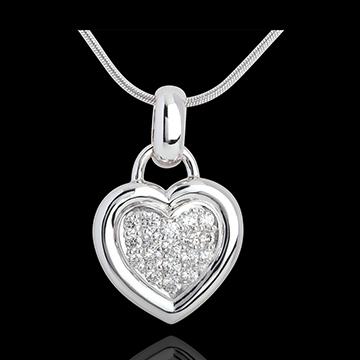 Pendentif coeur pavé or blanc 18 carats - 0.41 carat - 18 diamants