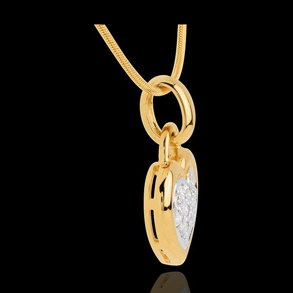 Pendentif coeur pavé or jaune 18 carats - 0.26 carat - 13 diamants