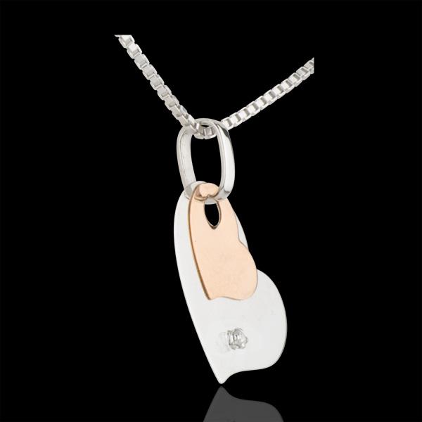 Pendentif Coeurs Modernes - or blanc et or rose 9 carats