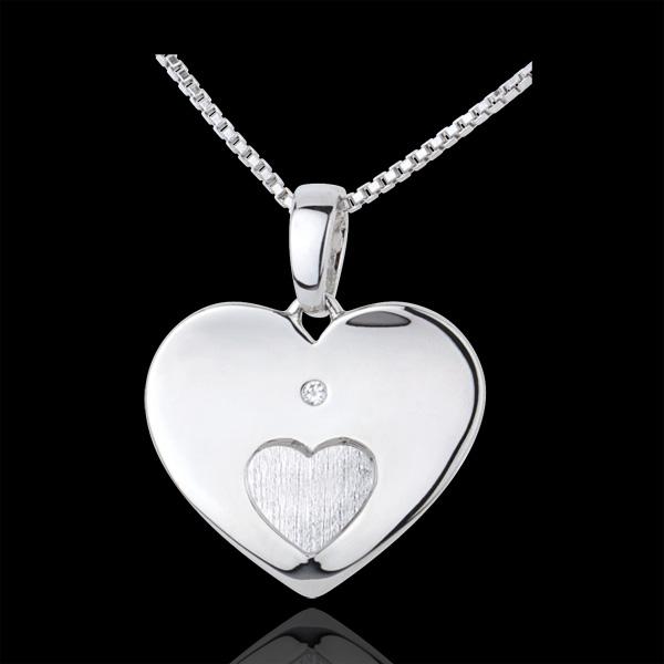 Pendentif Coeurs unis or blanc 9 carats
