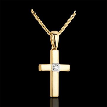 Pendentif croix diamant solitaire - or jaune 18 carats