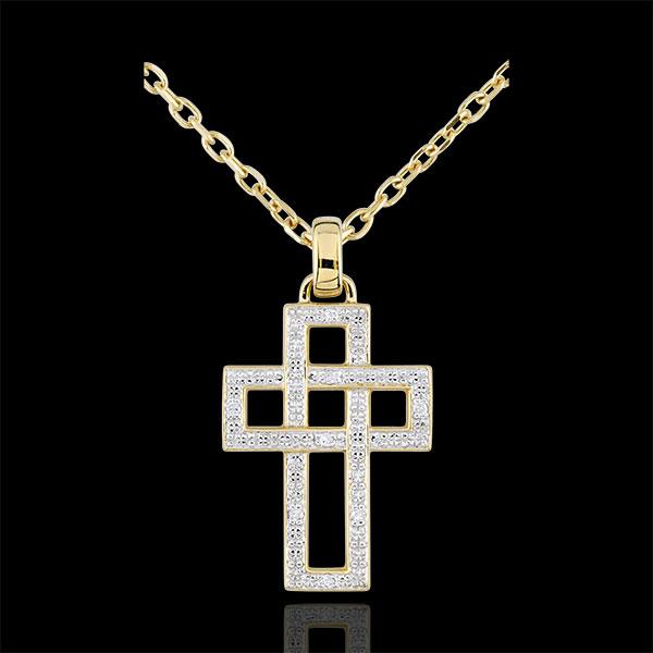 Pendentif Croix diamants géométrique - or jaune 9 carats