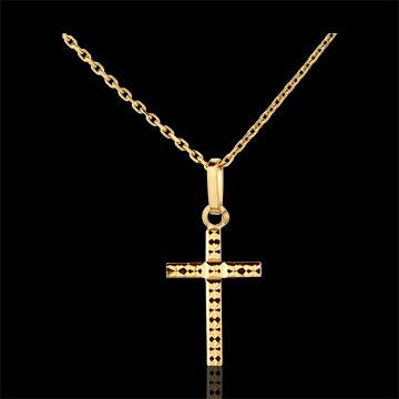 Croix facettée - or jaune 18 carats