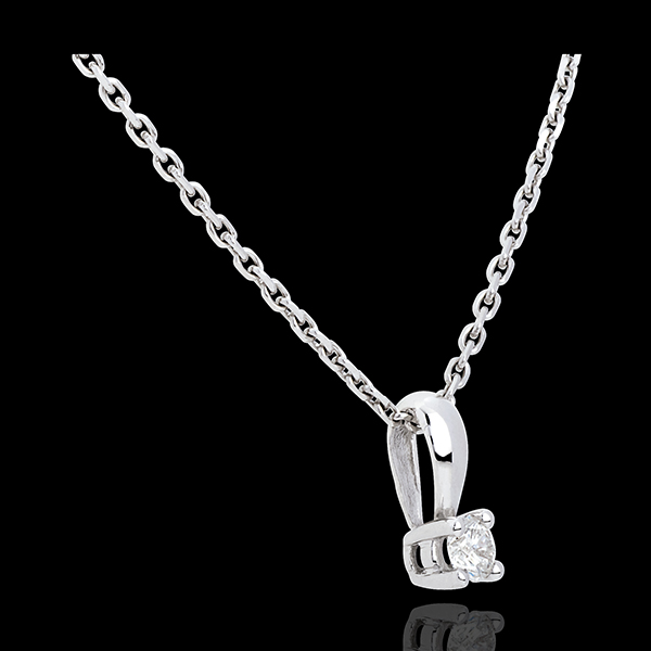 Pendentif diamant belière or blanc 18 carats - 0.2 carat