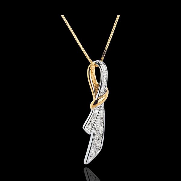 Pendentif Doux Noeud - 10 diamants - or blanc et or jaune 18 carats