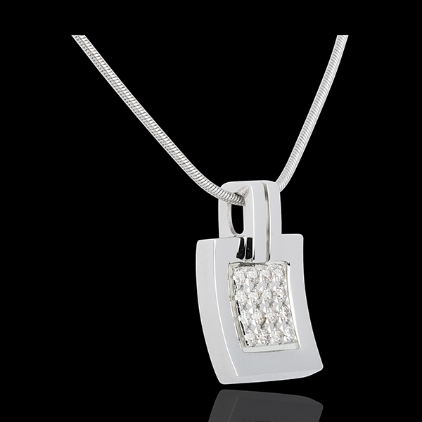 Pendentif empreinte or blanc 18 carats pavé - 0.24 carats - 16 diamants