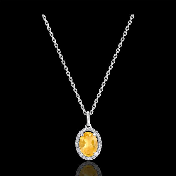 Pendentif Eternel Edelweiss - Anaé - or blanc 9 carats - Citrine et diamants