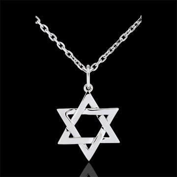 Pendentif Étoile de David - or blanc 9 carats