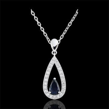 Pendentif goutte Soraya - saphirs et diamants - or blanc 9 carats