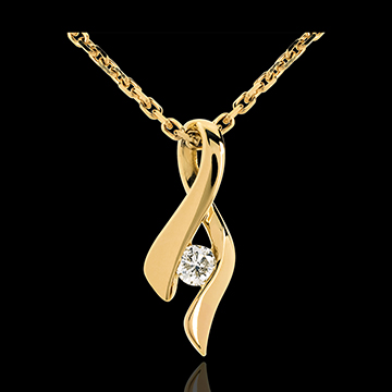 Pendentif infini or jaune 18 carats diamant - 0.13 carat