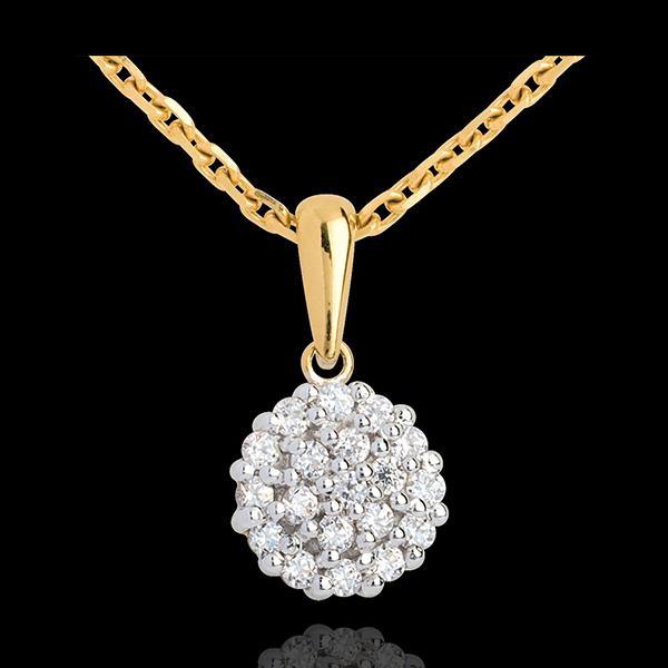 Pendentif kaléidoscope pavé diamants - 19 diamants - 0.19 carat - or jaune 18 carats