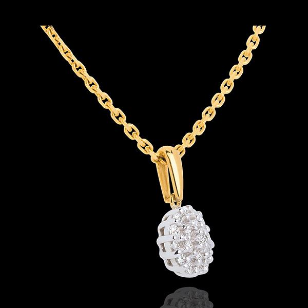 Pendentif kaléidoscope pavé diamants - 19 diamants - 0.19 carat - or jaune 9 carats