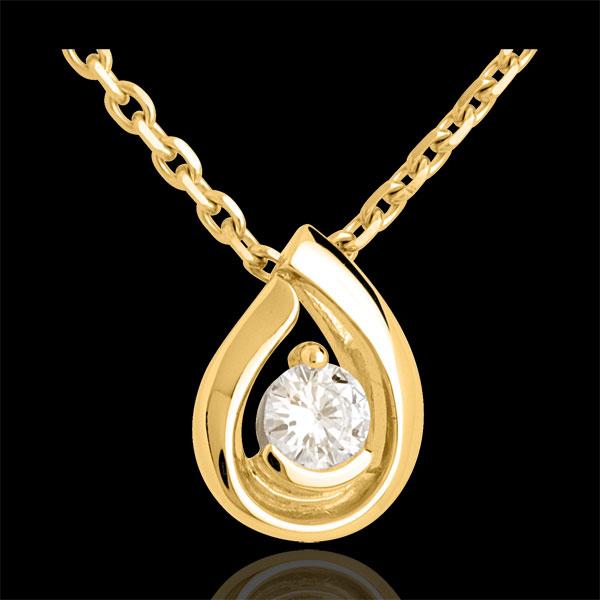 Pendentif larme diamant - or jaune 18 carats - 0.21 carats