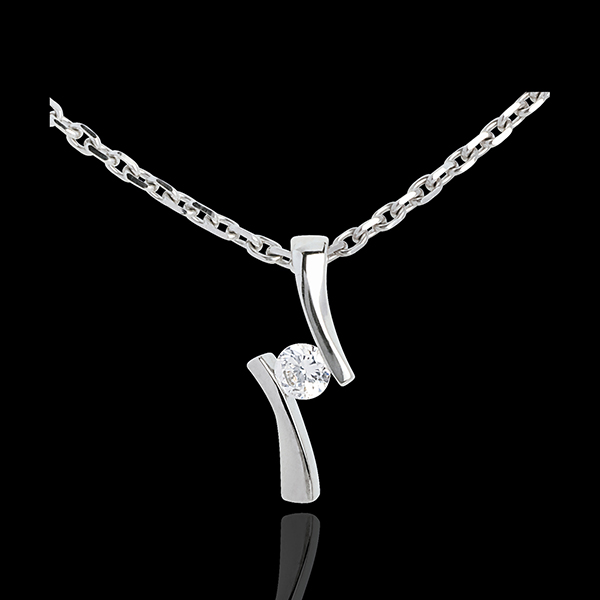 Pendentif Nid Précieux - Diamantapostroph - or blanc 18 carats - 0.09 carat
