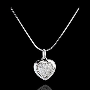 Pendentif or blanc 18 carats Sweet Heart - 18 diamants - 0.2 carat