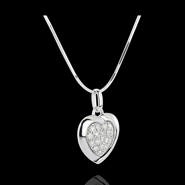 Pendentif or blanc 18 carats Sweet Heart - 18 diamants - 0.2 carat