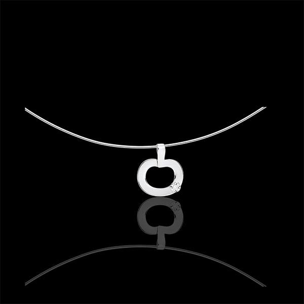 Pendentif or blanc 9 carats et diamant - Diapple mini