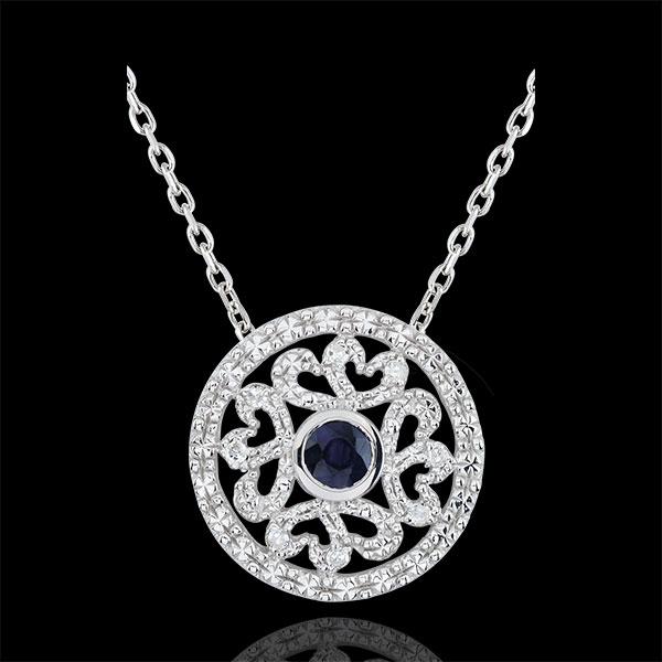 Pendentif or blanc 9 carats Kiona - diamants et saphir