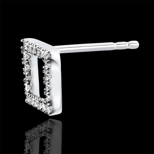 Pendientes Abundancia - Cuadrado Encantado - oro blanco de 9 quilates y diamantes