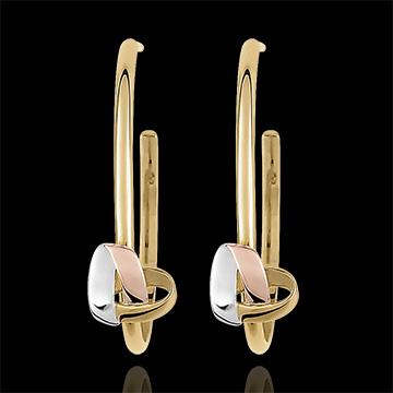 Pendientes Argollas Corazón Plegado - 3 oros de 18 quilates