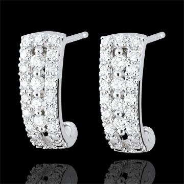 Pendientes de aro Destinée - Médicis - diamantes y oro blanco 9 quilates