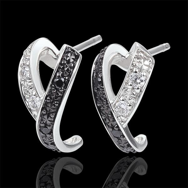 Pendientes Claroscuro - Kinesis - oro blanco 9 quilates - diamantes blancos y diamantes negros