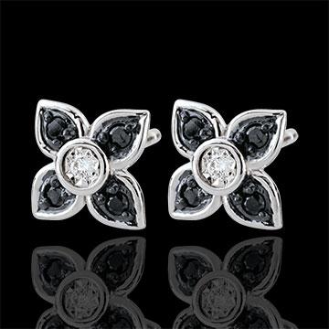 Pendientes Claroscuro - Lis negro - oro blanco 9 quilates - diamantes negros