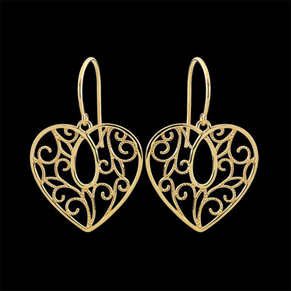 Pendientes Corazón Arabesco - oro amarillo 9 quilates