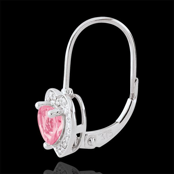 Pendientes Corazón Encantado - oro blanco 18 quilates y topacio rosa