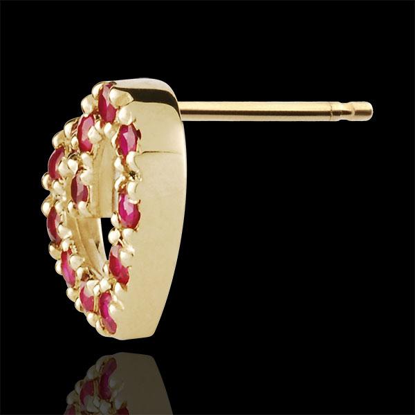 Pendientes Corazón de Fiesta - oro amarillo 9 quilates y rubíes