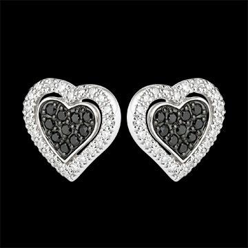 Pendientes Corazón Mega - oro blanco 9 quilates