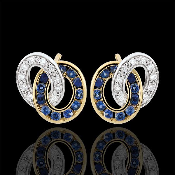Pendientes Dúoroama - oro blanco y oro amarillo 9 quilates - zafiros y diamantes