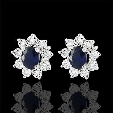 Pendientes Edelweiss Eterna - Margarita Ilusión - zafiro y diamantes - oro blanco 18 quilates