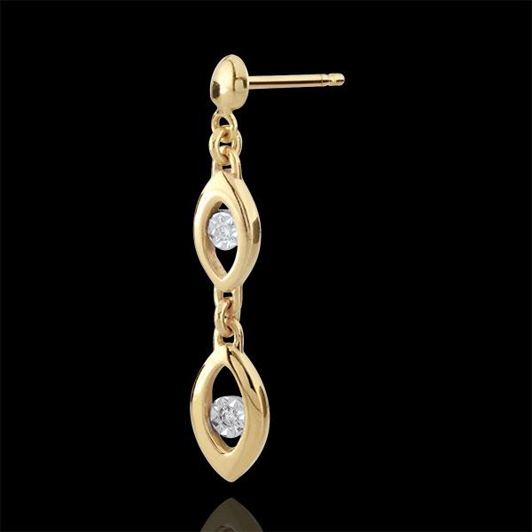 Pendientes Encanto Pavo Real - dos oros ( oro blanco y oro amarillo 9 quilates