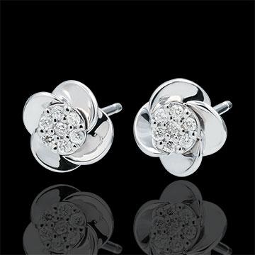 Pendientes Eclosión - Pétalos de Rosa - oro blanco 18 quilates