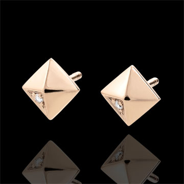 Pendientes Génesis - Diamantes Brutos - oro rosa 18 quilates