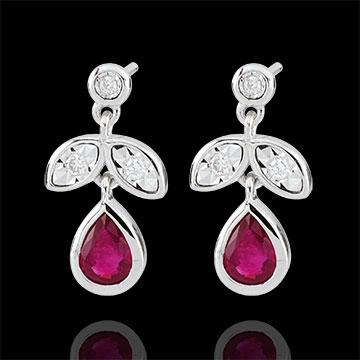 Pendientes Hesmé - oro blanco 9 quilates - rubíes y diamantes
