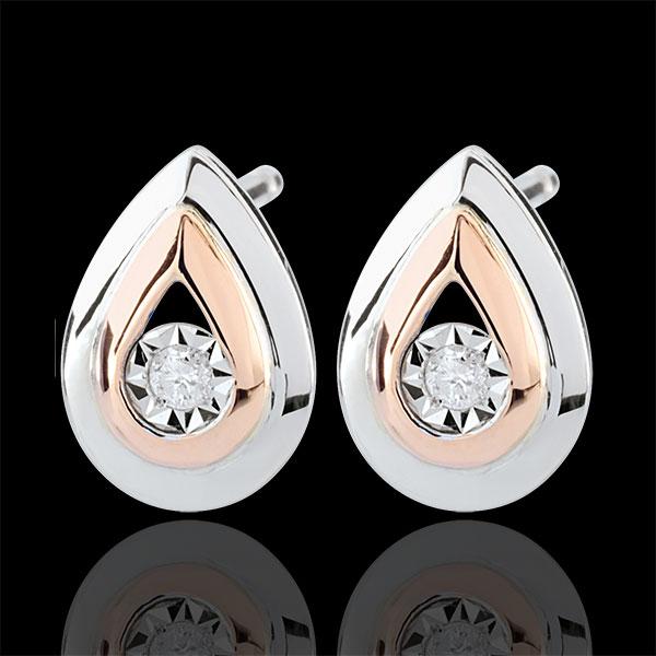 Pendientes Lágrimas de Antílope - pendientes cortos oro rosa y oro blanco 9 quilates
