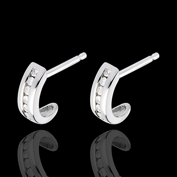 Pendientes media luna empedrado oro blanco - 12 diamantes