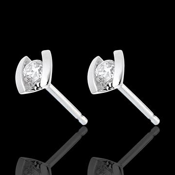 Pendientes Caldera - cortos - oro blanco 18 quilates y diamantes