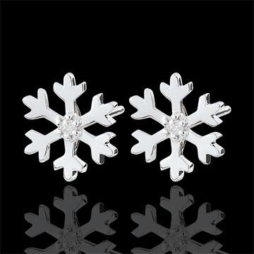 Pendientes Copo de nieve - oro blanco