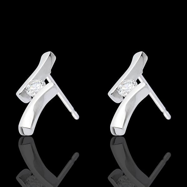 Pendientes Nido Precioso - Apóstrofe diamantes - oro blanco 18 quilates