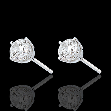 Pendientes oro blanco - diamante 4 garras - 1 quilates