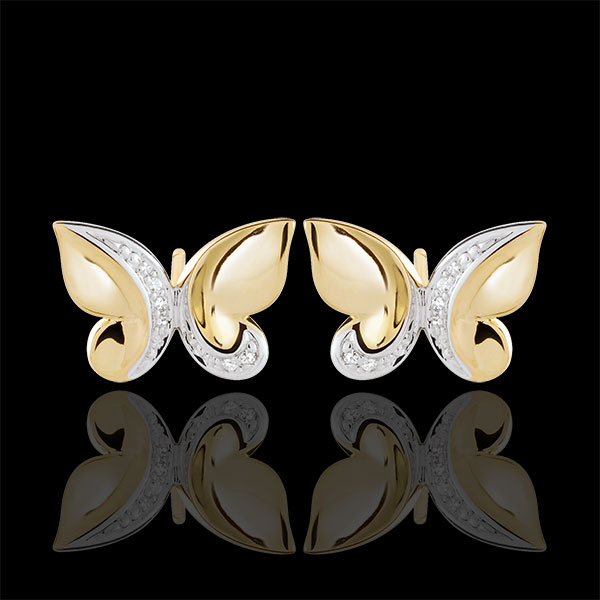 Pendientes Paseo Soñado - Mariposa Cascada - oro blanco y oro amarillo 9 quilates y diamantes