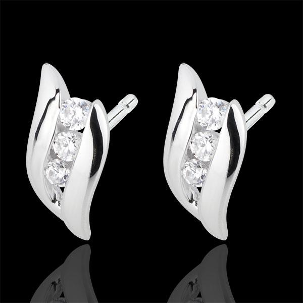 Pendientes Trilogía Nido Precioso - Romance - oro blanco 18 quilates diamantes