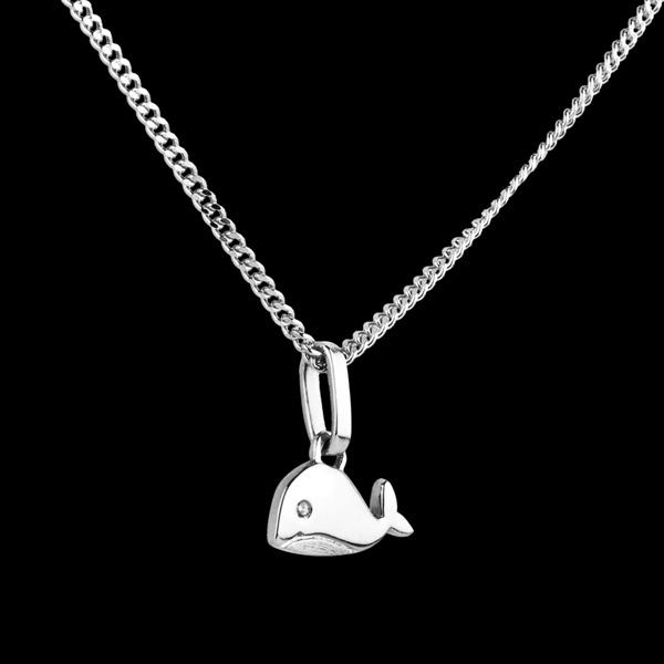 Piccola balena - modello grande - Oro bianco - 18 carati - Diamante