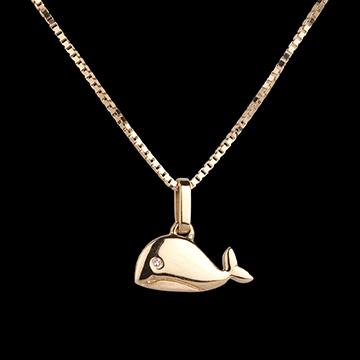 Piccola balena - modello grande - Oro giallo - 18 carati - Diamante