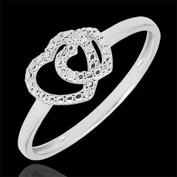 Pierścionek z białego złota 9-karatowego i diamentów - Sprzymierzone Serca